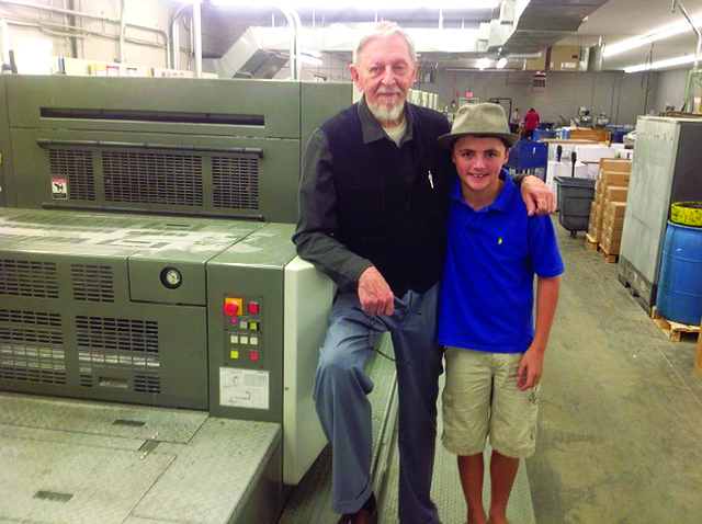 Richar Schmid and his grandson Ian on press for the first Alla Prima II printing